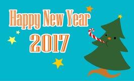 Christmas tree celebrate Happy New Year 2017. Illustration Stock Images