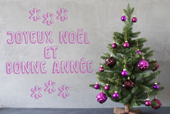 Christmas Tree, Cement Wall, Bonnee Annee Means New Year Stock Photo