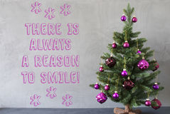 Christmas Tree, Cement Wall, Quote Always Reason To Smile Royalty Free Stock Photography