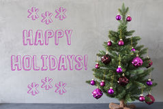 Christmas Tree, Cement Wall, Text Happy Holidays Royalty Free Stock Image