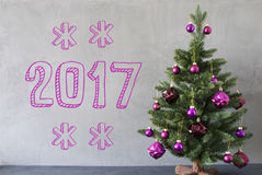 Christmas Tree, Cement Wall, Text 2017 Stock Photo