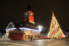 Christmas tree in center of Brasov town Royalty Free Stock Photography