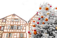 Christmas tree in the center of Colmar stock photography