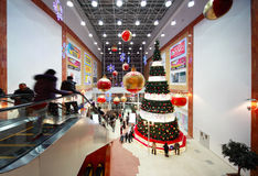 Christmas tree in center of hall Stock Image