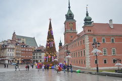 Christmas tree in the center of Warsaw. Warsaw's Castle Square Stock Photos