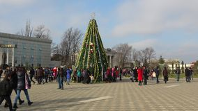 Christmas tree on central city square. Lankaran, Azerbaijan stock video