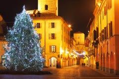 Christmas tree on central plaza. Alba, Italy. Stock Image
