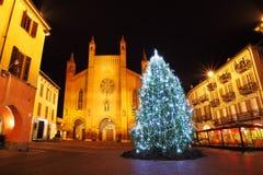 Christmas tree on central plaza. Alba, Italy. Royalty Free Stock Photography