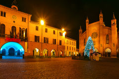 Christmas tree on central square. Alba, Italy. Illuminated and decorated Christmas Tree on central square between city hall and San Lorenzo cathedral at evening Stock Photos