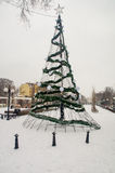 Christmas tree in the central square of Pomorie, Bulgaria Royalty Free Stock Image