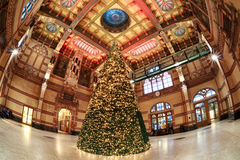 Christmas tree at Central Station in Groningen Royalty Free Stock Photos