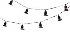 Christmas tree chain with bells  on white background Royalty Free Stock Photos