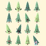 Christmas tree character emoji set. Funny cartoon emoticons Stock Illustration