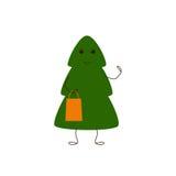 Christmas tree character with gift bag Stock Photos