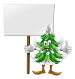 Christmas tree character holding sign. Illustration of a smiling cartoon Christmas tree character holding a sign Royalty Free Stock Images