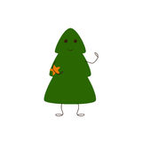 Christmas tree character with star. Christmas tree character holding star in his arm on white background. Logo template. Design element vector illustration