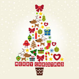 Christmas tree of the characters and decorations Stock Photography