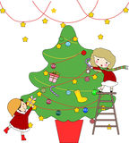 Christmas tree of children Stock Photography