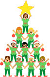 Christmas Tree of Children. Illustration of a pyramid of children dressed as Christmas elves, representing a Christmas tree...matching kids nativity pageant in stock illustration