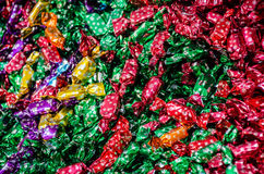 Christmas tree chocolate candies. With snowflakes, on a colorful display in a shop Stock Photography