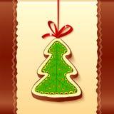 Christmas tree chocolate honey-cake greetings card Stock Image