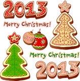Christmas tree and chocolate honey-cakes Stock Photos