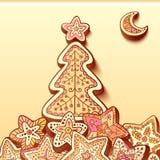 Christmas tree chocolate honey-cakes background Royalty Free Stock Image