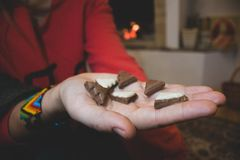 Christmas tree chocolate shapes in girl hands at fireplace stock photos