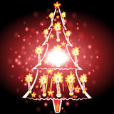Christmas tree with Christmas background and greeting card vector Stock Photos