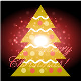 Christmas tree with Christmas background and greeting card vector Stock Photo