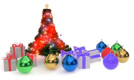 Christmas tree, Christmas balls and gift packages, 3d render. Ing Stock Images