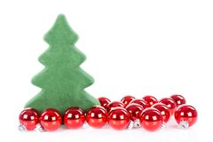 Christmas tree with Christmas balls isolated over white Stock Photo