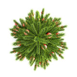 Christmas tree with Christmas balls top view. 3d. Royalty Free Stock Photos