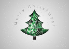 Christmas tree. Christmas card in zen tangle style. Merry Christmas invitation card. Paper cut Royalty Free Stock Photo