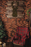 Christmas tree and Christmas decorations. Chalkboard mock up with Christmas gifts and rustic decorations. Christmas tree and Christmas decorations stock photos