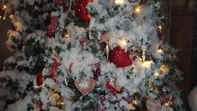 Christmas tree. Christmas decorations close-up. garlands and New Year`s toys stock video