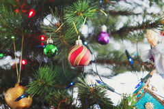 Christmas tree and christmas decorations close up photo. Tinted Royalty Free Stock Photography