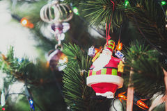 Christmas tree and christmas decorations close up photo. Tinted Stock Image
