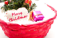 Christmas Tree and Christmas decorations. On white background Stock Photo