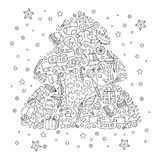 Christmas tree from Christmas decorative elements. Royalty Free Stock Photo