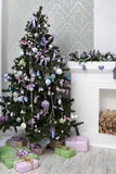 Christmas Tree and Christmas gift Stock Photography