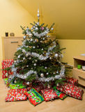 Christmas Tree and Christmas gift boxes Stock Image
