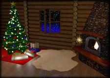 Christmas tree and christmas gift boxes in. Vintage interior with fireplace Stock Photography