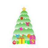 Christmas tree Christmas gifts. Green tree with gifts for the new year Royalty Free Stock Photography