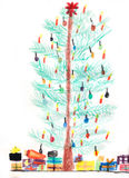 Christmas tree and christmas presents, childish crayons drawing Royalty Free Stock Images