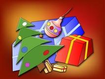 Christmas tree and Christmas presents Stock Photos