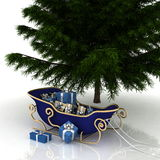 Christmas Tree and Christmas Santa sledge Royalty Free Stock Image