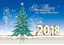 2018 Christmas tree. Christmas tree with balloons and fireworks on a blue background Royalty Free Stock Photo