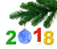 Christmas tree and 2018 Royalty Free Stock Photos