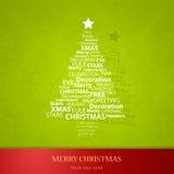 Christmas tree of Christmas words. Stock Photos